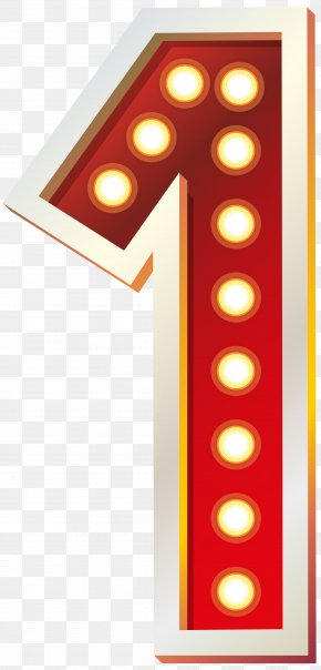 Red Number One With Lights Clip Art Image - Light Red Clip Art PNG