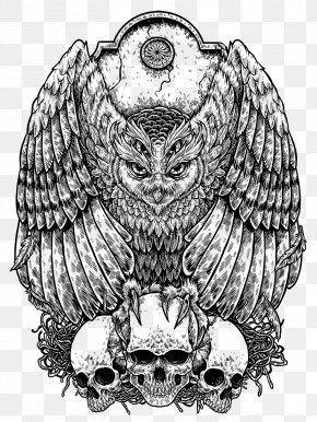 Owl Drawing Tattoo - Owl Drawing Godzilla Coloring Book Image PNG