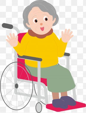 The Old Man Sitting In A Wheelchair - Cartoon Old Age PNG