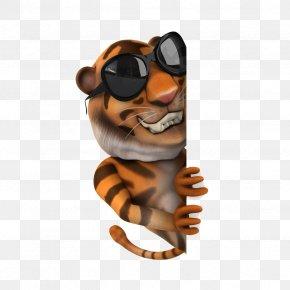 Cartoon Sunglasses Tiger - Tiger Cartoon Animation PNG