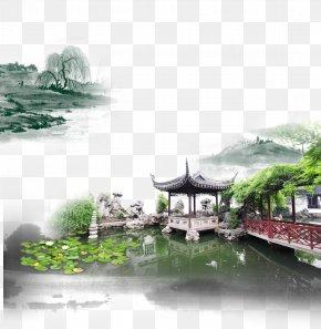 China Wind Creative Background Green Water Mansion - China Jiangnan Poster Ink Wash Painting PNG
