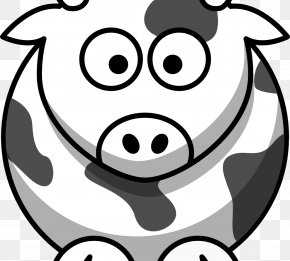 Cartoon Macaron - Cattle Black And White Drawing Cartoon Clip Art PNG