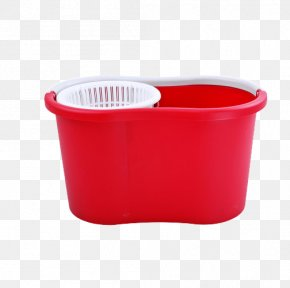 Thick Red Rectangle Wash Mop Bucket - Bucket Mop Rectangle PNG