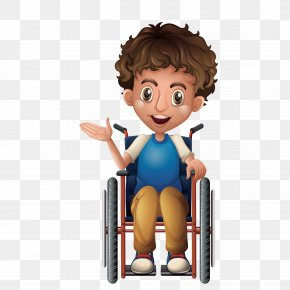 A Small Boy On A Wheelchair - Wheelchair Child Illustration PNG