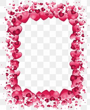 Valentine's Day Pink Heart Border Transparent PNG Clip Art Image - Right Border Of Heart Valentine's Day Clip Art PNG