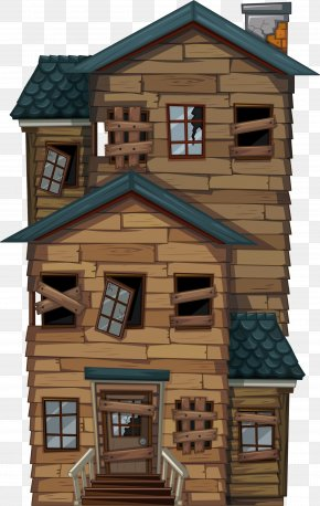 A Decrepit Log Cabin - Facade House Royalty-free Illustration PNG