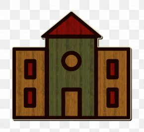 Rectangle University Icon - School Building Cartoon PNG
