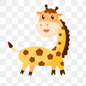 Giraffe Cartoon Euclidean Vector - Giraffe Cartoon Vector Graphics Animal Drawing PNG