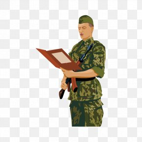 Reading Soldier - Military Soldier Drawing PNG