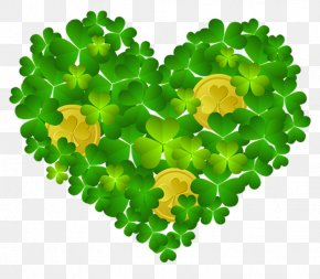 St Patricks Shamrock Heart With Coins PNG Clipart - Saint Patrick's Day Ireland Shamrock Wallpaper PNG