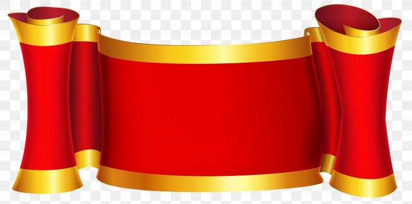 Gold Red Clip Art, PNG, 7000x3472px, Borders And Frames, Art, Banner, Cylinder, Fundal Download Free