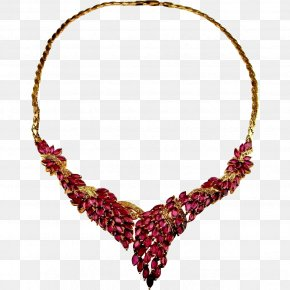 Necklace - Earring Necklace Jewellery Ruby Diamond PNG