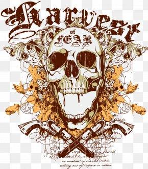 Ink Skull Pistol - T-shirt Hoodie Clothing Illustration PNG