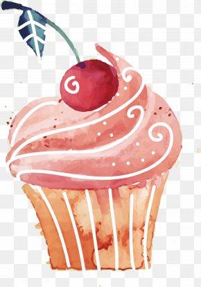 Hand-painted Cartoon Vector Cupcakes - Cupcake Birthday Cake Rice Cake Red Velvet Cake Dessert PNG