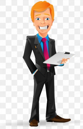 Cartoon Painted Red Hair Business Man Take File - Businessperson Computer File PNG