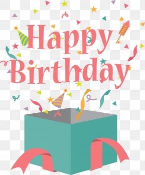 Birthday Gift Box Flat - Birthday Cake Gift Greeting Card Clip Art PNG