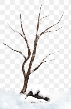 Brown Winter Snowy Tree Clipart Picture - Tree Branch Snow Clip Art PNG