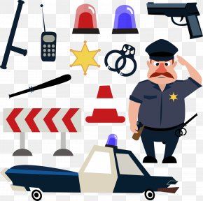 Police Tools - Police Officer Cartoon Illustration PNG