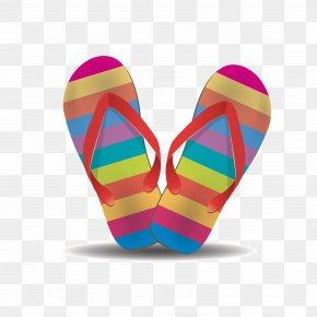 Color Stripe Beach Sandals - Flip-flops Shoe Clip Art PNG