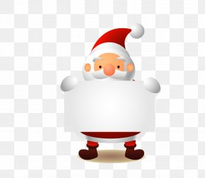 Vector Santa Claus Holding A White Paper - Santa Claus Paper Christmas PNG