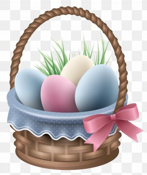 Transparent Easter Basket And Grass Clipart Picture - Easter Bunny Egg In The Basket PNG