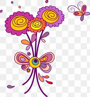 A Bouquet Of Flowers Cartoon - Flower Euclidean Vector PNG