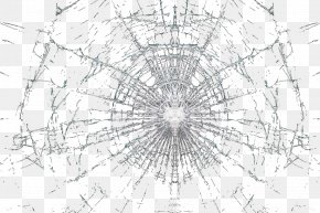 Glass Crack - Drawing Structure Symmetry Black And White Pattern PNG