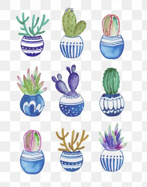 Potted Cactus Watercolor Painting - Flowerpot Cactaceae Watercolor Painting Drawing PNG