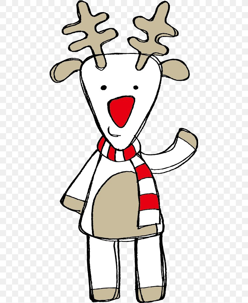 Rudolph Santa Claus Reindeer Christmas Card, PNG, 492x1001px, Watercolor, Cartoon, Flower, Frame, Heart Download Free