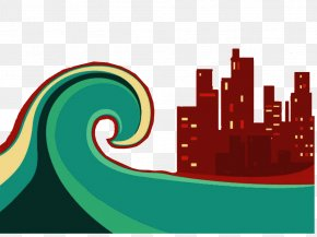 Decorative Illustration Flood Disaster Tsunami Approaching - Flood Tsunami Illustration PNG