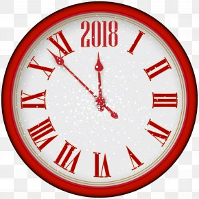 2018 New Year Red Clock Tree Clip Art - New Years Eve Clock Clip Art PNG