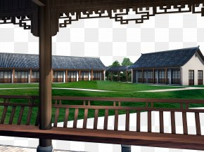 The Modern Brick Building - Roof Chinoiserie Zhonghua Building Architecture PNG