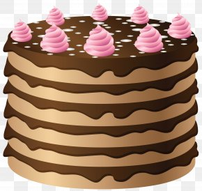 Chocolate Cake With Pink Cream Clipart - Chocolate Cake Icing Birthday Cake Clip Art PNG