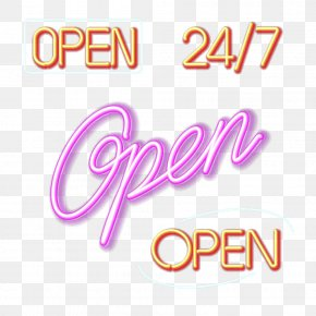 Color OPEN Neon Signboard - Neon Lighting Neon Lamp PNG