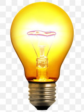 Yellow Light Bulb Image - Incandescent Light Bulb Lighting Invention Clip Art PNG