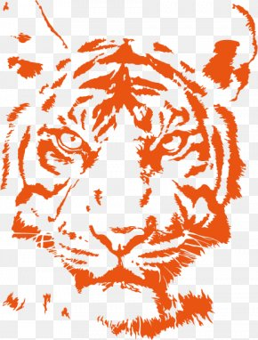 Orange Tiger Head Vector Material - Lion Bengal Tiger Cat Logo PNG