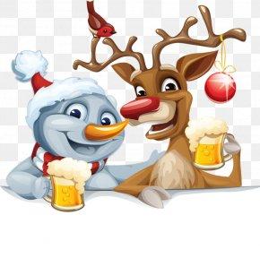 Elk And Snowman - Santa Claus's Reindeer Santa Claus's Reindeer Christmas Clip Art PNG