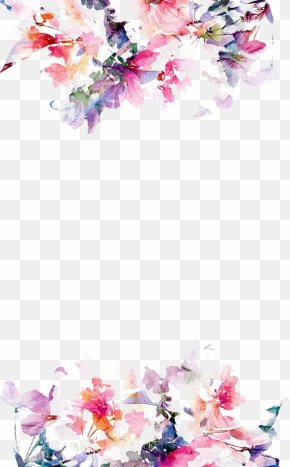 Watercolor Flowers Border - IPhone 5s Flower Paper Wallpaper PNG