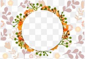 Orange Round Wreath - Wedding Invitation Flower Picture Frame Ornament PNG