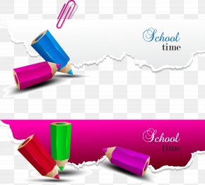 Creative Decorative Color Pencil Vector - Paper School Pencil Illustration PNG