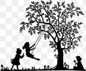 Black And White Tree Swing Kids - Swing Tree Clip Art PNG