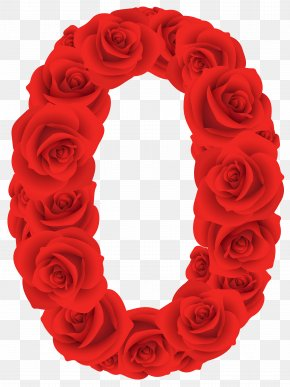 Red Roses Number Zero Clipart Image - Number Clip Art PNG