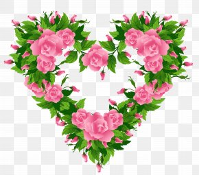 Pink Roses Heart Decor Clipart Picture - Rose Heart Pink Clip Art PNG