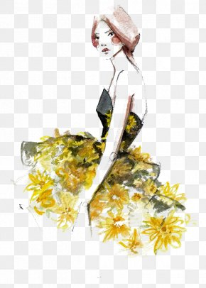 Creative Hand-painted Watercolor Portraits - Paper Fashion Illustration New York Fashion Week Illustration PNG
