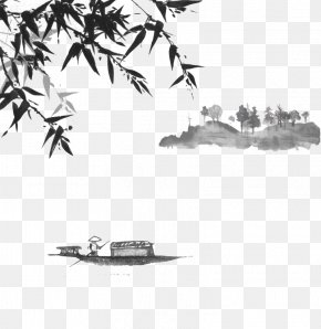 Mountain Ink On Boating Lake - Japanese Art Ink Wash Painting Japanese Painting PNG