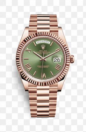 Rolex - Rolex Day-Date Colored Gold Watch PNG