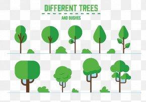 Green Tree Flat Design - Leaf Text Green Illustration PNG