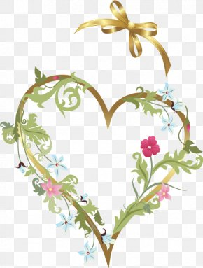 Flowers Love Bow Decoration - Flower Heart Valentine's Day Clip Art PNG