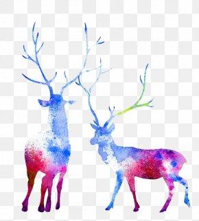 Watercolor Deer - Moose Reindeer Watercolor Painting Elk Capreolinae PNG