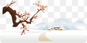 Winter Snow Plum Vector Material - Winter Greeting Happiness Love Friendship PNG